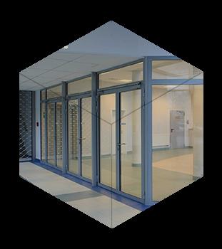 Протипожежні (вогнестійкі) скляні двері та перегородки